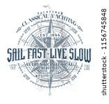 sail fast  live slow.marine t... | Shutterstock .eps vector #1156745848