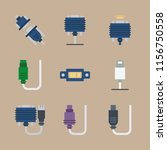 9 cables icons set | Shutterstock .eps vector #1156750558