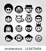 vector smiley faces. funny...   Shutterstock .eps vector #115675606