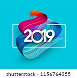 blue 2019 new year background... | Shutterstock .eps vector #1156764355