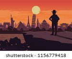 adventurer stand on cliff and...   Shutterstock .eps vector #1156779418