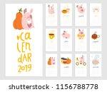 monthly creative calendar 2019... | Shutterstock .eps vector #1156788778