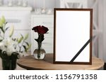 funeral photo frame with black... | Shutterstock . vector #1156791358