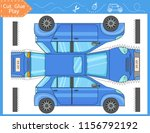 cut and glue the paper blue car.... | Shutterstock .eps vector #1156792192