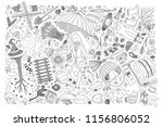 hand drawn autumn set doodle... | Shutterstock .eps vector #1156806052