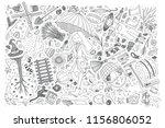 hand drawn autumn set doodle... | Shutterstock .eps vector #1156806052