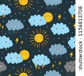 cute pattern with sun and cloud. | Shutterstock .eps vector #1156813708