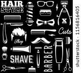 barber tools seamless texture.... | Shutterstock .eps vector #1156816405