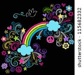 rainbow and peace sign dove... | Shutterstock .eps vector #115682332