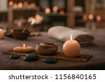 burning candles  stones and... | Shutterstock . vector #1156840165