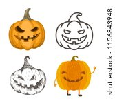 set of halloween pumpkins. jack ... | Shutterstock .eps vector #1156843948