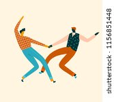 dancing characters couple card... | Shutterstock .eps vector #1156851448