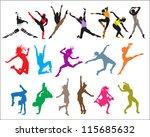 shape  silhouette dancers  | Shutterstock .eps vector #115685632