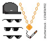 boss or gangster pixelated... | Shutterstock .eps vector #1156856902