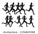 running people  vector isolated ... | Shutterstock .eps vector #1156869388