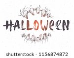 halloween vector hand drawn... | Shutterstock .eps vector #1156874872