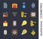 set of 16 icons such as locked  ... | Shutterstock .eps vector #1156887802