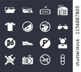 set of 16 icons such as traffic ...