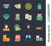 set of 16 icons such as poker ...