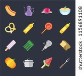 set of 16 icons such as fork ... | Shutterstock .eps vector #1156891108