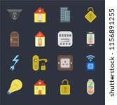 set of 16 icons such as power ...