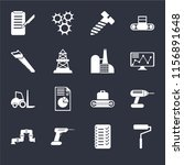 set of 16 icons such as roller  ...
