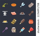 set of 16 icons such as ham ...