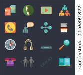 set of 16 icons such as open...