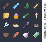 set of 16 icons such as pickles ...