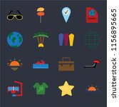 set of 16 icons such as sunset  ...
