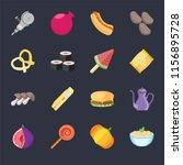 set of 16 icons such as pasta ...
