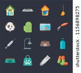 set of 16 icons such as drugs ...