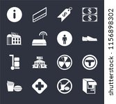 set of 16 icons such as atm  no ...