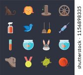 set of 16 icons such as yarn ...
