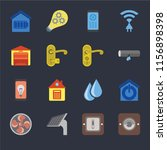 set of 16 icons such as dimmer  ...