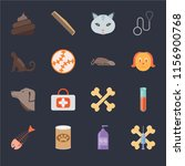 set of 16 icons such as treats  ...