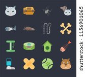 set of 16 icons such as hamster ...