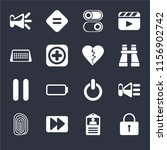 set of 16 icons such as locked  ...