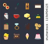 set of 16 icons such as jelly ...