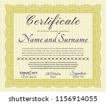 yellow sample certificate. with ... | Shutterstock .eps vector #1156914055