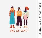 young women friends... | Shutterstock .eps vector #1156915525