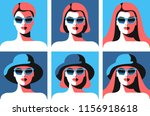 six abstract portraits of young ... | Shutterstock .eps vector #1156918618