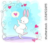 cute white romantic bunny with... | Shutterstock .eps vector #1156922695