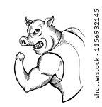 mighty pig bodybuilder | Shutterstock .eps vector #1156932145