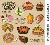 set of hand drawn pies  baking... | Shutterstock .eps vector #1156932595
