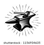 forge  blacksmith. anvil and... | Shutterstock .eps vector #1156934635