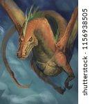 orange dragon flying through...   Shutterstock . vector #1156938505