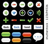 chat application icons and elements on black background : no.2 - stock vector
