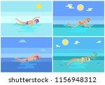 backstroke and breaststroke ...   Shutterstock .eps vector #1156948312