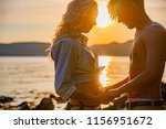 silhouette of couple in love... | Shutterstock . vector #1156951672